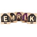 Wall Plaque Monogram W/hooks Mdf 12 Asst Ea In 2 Colors Open Box Purple/black 6.75x0.25x7.75in