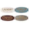 Wall Plaque Mdf Room Signs 4ast 15.74x6.69in Engraved Effect Laundry/coffee/kitchen/powder Rm