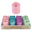Candle Led Ficker Pillar 4ast Glitter Spring Colors/12pc Pdq 2.7 X 3in