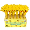 Bubble Stick W/emoticon Clapper Hand 1.9 Oz 4asst In 24pc Pdq/ht