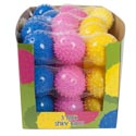 Ball Spiky 3.5in Dia 3pk 3asst Color Mesh Bag/15pc Pdq