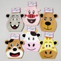 Hand Puppet Felt 6asst Animal Faces On 12pc Merchstrip Printed Header Card