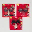 Novelty Glasses 3ast Faces W/ Mustache/eyebrows Or Clown Nose Blister Card