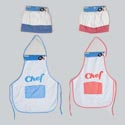 Chef Apron/hat Kids Dress-up W/ Red/blue Gingham Accent Tie Card Header Card