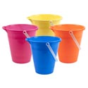 Sand Bucket 9in Plastic 4ast Colors W/angled Opening Ht Pink/blue/yellow/orange