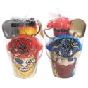 Beach Pail Pirate Playset 5pc 2ast W/sand Tools & Molds/ht