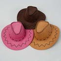 Cowboy Hat Adult Size 3ast Clrs Faux Leather Look/stitch Detail Saddle/choc Brown/pink Hangtag