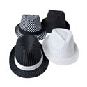 Hat Fedora Striped/checkered Black And White 4ast Designs Black Party Art Ht/jhook