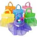 Treat Bag Nonwoven Tutu Skirt Layered 6ast Colors 8x8.5in Ht