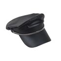 Biker Cap Faux Leather W/silver Chain Detail-biker/macho Man Hangtag/jhook