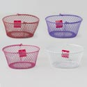 Basket Wire Mesh Handled Oval Pe Coated 7.5 X 9.5 X 5h Hangtag Red/hot Pink/white/purple
