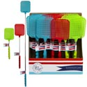 Fly Swatter Extendable 10 To 28inl Ast Colors/24pc Pdq W/soft Grip Handle/wrap Label