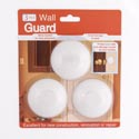 Door Knob Wall Guard 3pk Round White 6cm/2.3in-12pcstrip Self-adhesive Blister Card