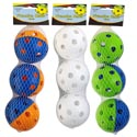 Practice Balls 3pk Plastic 2.7in Dia White Or Multicolor Netbag W/header