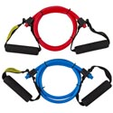 Resistance Exercise Band W/hndle 3.9ftl 2ast Colors/medium Resist Tpr/backer Card  Blue/red Cl