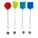 Fly Swatter 2pk Metal Handle 3shapes 4ast Summr Colors 18.5in Foot/daisy/rect Summer Hangtag