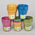 Planter Bamboo Fiber 4pk 1multi Color And 4solids Biodegradable 3.74x3.54 Shrink W/label