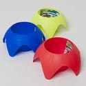 Coaster Drink Holder Plastic 6.29x3inh For Yard/beach 3ast Clrs W/prtd Label-red/blue/yelw