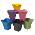 Planter Bamboo Fiber 6x5.5in Scalloped Rim 6ast Colors Biodegradable L&g Label