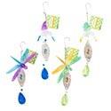 Garden Decor Hanging W/plastic Gem 12in 4ast Dragonfly/hummbird 2 Styles/2 Colors Garden Ht
