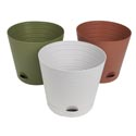 Planter Self Watering 3astclrs Horiz Ribs 8.25dia X 7.5inh Terracotta/olive/stone Upclabel
