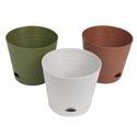 Planter Self Watering 3astclrs Horiz Ribs 6.25dia X 5.5inh Terracotta/olive/stone Upclabel