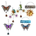 Garden Wind Chimes Hanging 6ast Iron/glass Springtime Favorites Asst Sizes
