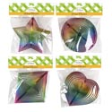 Wind Twister Rainbow Ombre Color 4asst Shapes 6.3/6.7in Pbh Star/heart/diamond/round