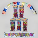 Banner Birthday 2pk Set 36in Printed & 4ft Jointed 8asst Party Polybag/header