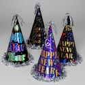 New Year Party Hat 12.5in 4asst Paper/foil W/silver Tinsel Trim Inside Upc Label