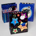 Graduation Gift Bag Large 12x10x5 3asst Print/holo/glitter Designs Upc Label J-hook