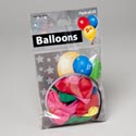 Balloons 25ct 9in Asst Color Latex Rubber Gov Logo Printed Polybag