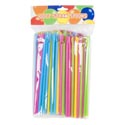 Straws W/spoon 100ct 4asst Color Straws Per Bag Polybag/header