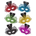 Mask Carnivale Glittered 6ast Colors Deluxe W/string Tie Back Party Hanging Header Card