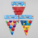 Banner Flag Shape 3asst 12-15ft Balloon/bday/solid Multicolor
