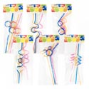Straws Crazy Shapes 4pc Per Pk 6asst Styles Ast Colors Party Polybag Header