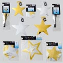 New Year Decor Combo 6ast Metallic Hanging/fountain/swirl Star Cutout Gov Party Art