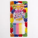 Birthday Candles 24ct/12pc Cs 1 Happy Bday Sign & 12 Holders Party Blister Card