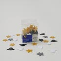 Graduation Table Scatter 48ct Plastic Star/cap Shape Blk/gold In Pvc Box