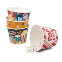 Bucket Paper Party Popcorn/treat 7.5in Dia X 5.875inh 4ast Design Popcorn/dot/movie/tickets Up