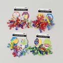 Bow 2pk Curly Med W/bday Tags 8ast Designs 6mm X 10strands Party Tie On Card