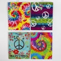 Gift Bag Paper Tie-dye/peace 4ast W/glitter/tip On/hotstamp Large 10 X 12.5 X 5in/jhook Upc