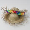 Hat Beachcomber Straw Luau 2asst Natural Color W/w-out Floral Luau Hangtag