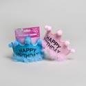 Birthday Crown Felt W/5pc Pompom & Feather Detail Pink/blue Clrs Party Tie On Card