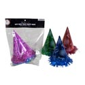 New Year Party Hats 6ct Paper W/tinsel Trim 4clr Per Pk New Year Pbh