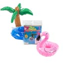 Inflatable Cup Holder 3ast Luau Palm Tree/pineapple/flamingo Food Grade Pvc/pb Insert Card