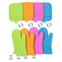 Oven Mitt 12in/pocket Potholder 7x9in 4summer Colors Ea/hangtag Orange/hotpink/lime/teal
