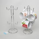 Mug Tree Wire Holds 6 Mugs 13.5in Chrome Iron Kitchen Ht