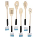 Kitchen Utensils Wood W/tpr Grip 6ast Spoons/fork/turner B&c Ht