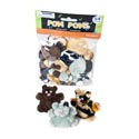 Pom Pom Craft 54ct 4ast Sizes Mxd Animal Clrs Craft Oppbag/hdr